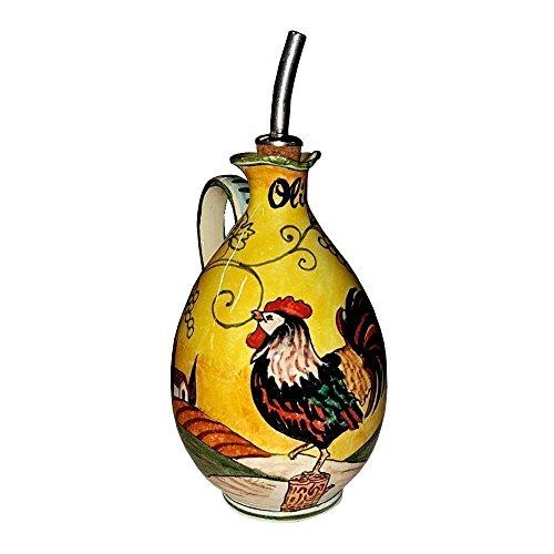 CERAMICHE D'ARTE PARRINI- Italienische Kunstkeramik, Menage Öl, Dekoration hahn, handgemalt, hergestellt in Italien Toscana (Öl Hahn,)