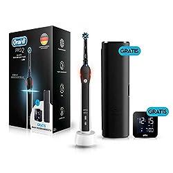 Oral-B PRO 2 Black Design Edition Elektrische Zahnbürste mit visueller Andruckkontrolle für extra Zahnfleischschutz, Gratis Braun Wecker und Reise-Etui