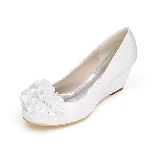 L@YC Tacchi alti delle donne Primavera autunno Scarpe da sposa sintetiche confortevoli e abiti da sera Tacchi alti di pendenza White