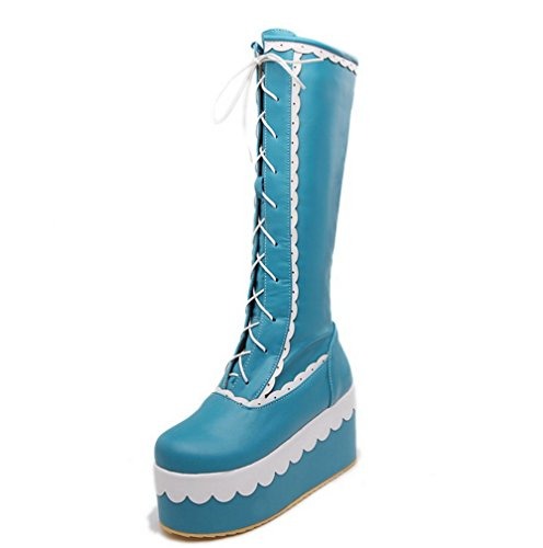 VogueZone009 Damen Hoher Absatz Gemischte Farbe Rund Zehe Weiches Material Schnüren Stiefel, Blau, 42 -
