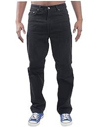 Mens Blue Circle Jeans Lourds Vêtements Base Droite Regular Fit Jean Noir 28-60