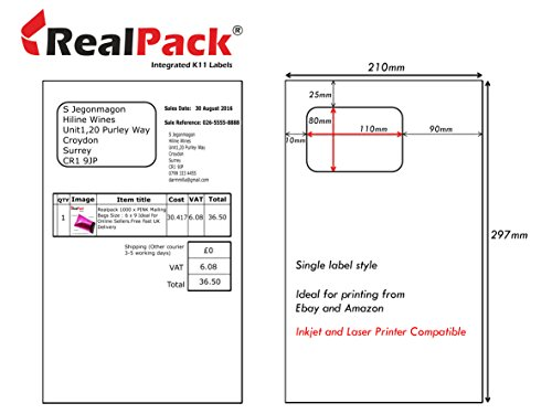 REALPACK® 5000 X Amazon Ebay Integrated Labels and Dispatch Note Invoice Sticky Suitable for Laser and Ink Jet Printers size 110mm x 80mm Free Fast Shipping - Best Price