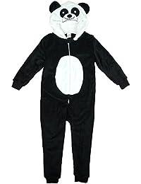 Girls Novelty Panda Face Hooded Zip Sleepsuit Fleece Onesie Romper sizes from 2 to 11 Years