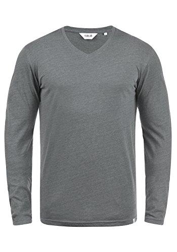 !Solid Beda Herren Longsleeve Langarmshirt Shirt Mit V-Ausschnitt, Größe:L, Farbe:Grey Melange (8236) -
