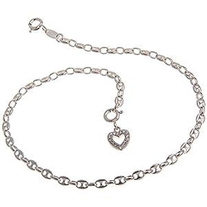 Fußkette Silber (Kaffeebohnenkette) mit Anhänger Herz weiß – Breite 3,3mm – Länge wählbar 23cm-30cm – echt 925 Silber
