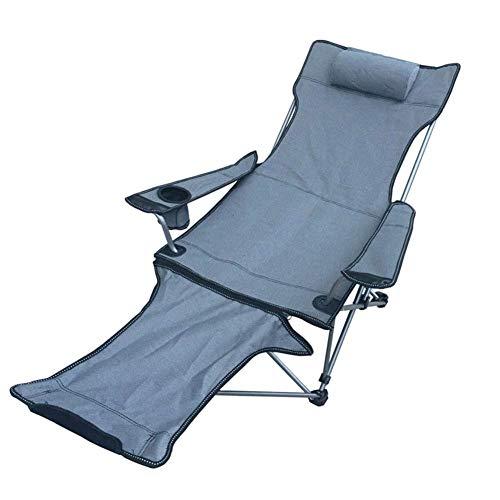Qyyzdy sedie a sdraio portatili ultraleggere sedia pieghevole da campeggio, sedia da spiaggia a sdraio a sdraio da esterno compatta, poggiapiedi staccabile per picnic (color : gray)