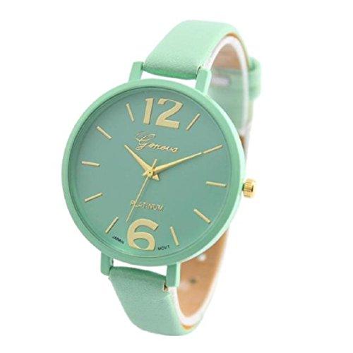 Vovotrade Genf Frauen Faux-Leder-analoge Quarz-Armbanduhr_Minzgrün