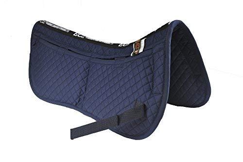 ECP alle Zweck Diamond Quilted Baumwolle Englisch Hälfte Sattel Pad Therapeutische vorgeformt Korrektur Memory Foam Taschen für Dressur, Springen, Reiten, Training, Zweispänner, zeigt, marineblau - Therapeutische Pad