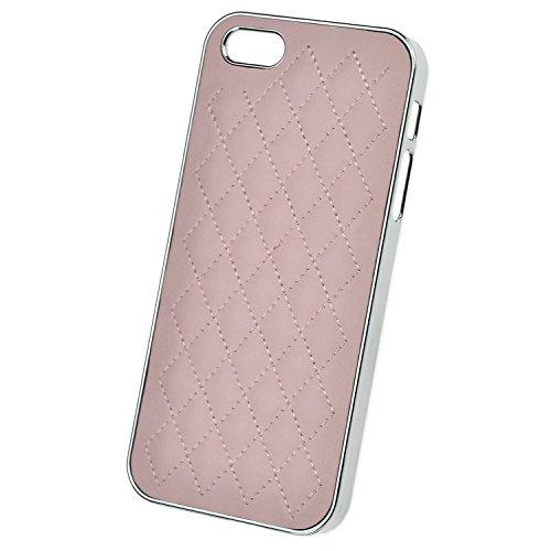 doupi Chrome Deluxe PU étui en cuir pour iPhone 5 5S SE Etui de protection en cuir synthétique canapé aspect cuir rembourrés coque de protection en aluminium couvercle du boîtier blanc Rose
