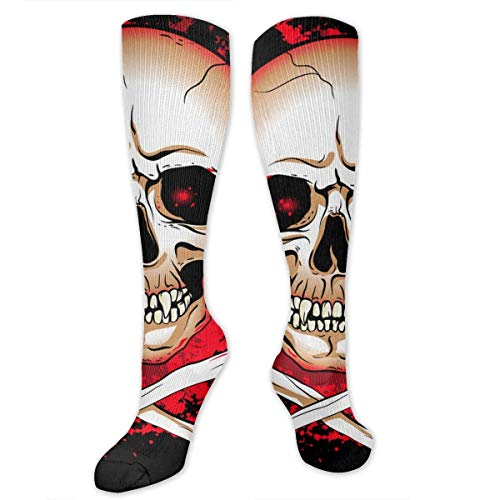 NFHRREEUR Men Women Knee High Socks Cool Bloody Halloween Skull Skeleton with Bone Compression Socks Sports Athletic Socks Tube Stockings Long Socks Funny Personalized Gift Socks