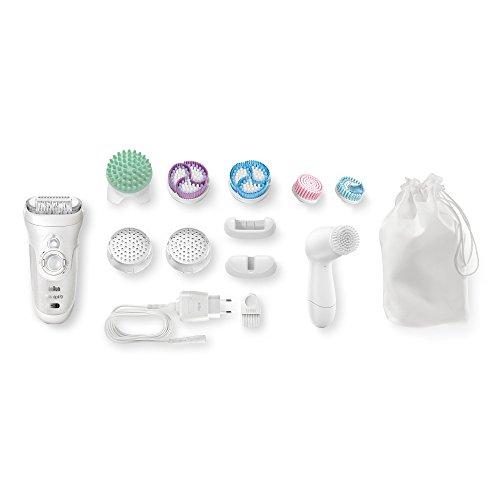 Braun Silk-épil 9 SkinSpa 9-969v - Depiladora para mujer, sistema 4 en 1 de exfoliación, cuidado de la piel y cepillo limpiador facial adicional, blanco