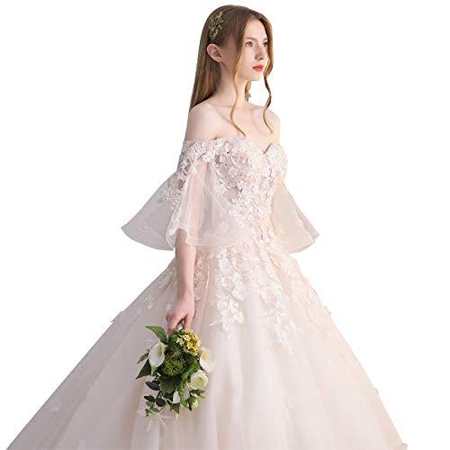 WJF Rosa Hochzeitskleid Spitze Wort Schulter Sommer Braut Langarm Brautkleid,Rosa,S