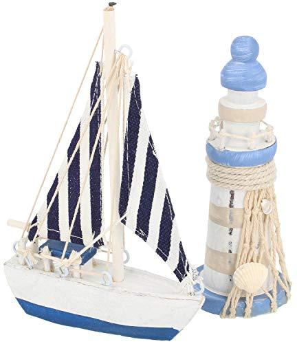 com-four® 2-teiliges maritimes Deko-Set - Segelschiff und Leuchtturm aus Holz im Used-Look (02-teilig - Segelschiff + Leuchturm) - Marine-blau-cocktail