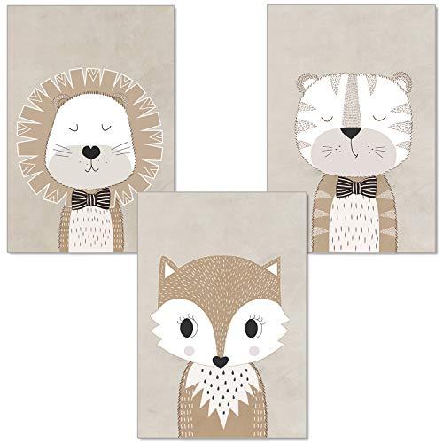 artpin® 3er-Set Poster Kinderzimmer Babyzimmer Von Künstlerin - Kinderposter Skandinavische Stil - Löwe Fuchs Tiger (P2)