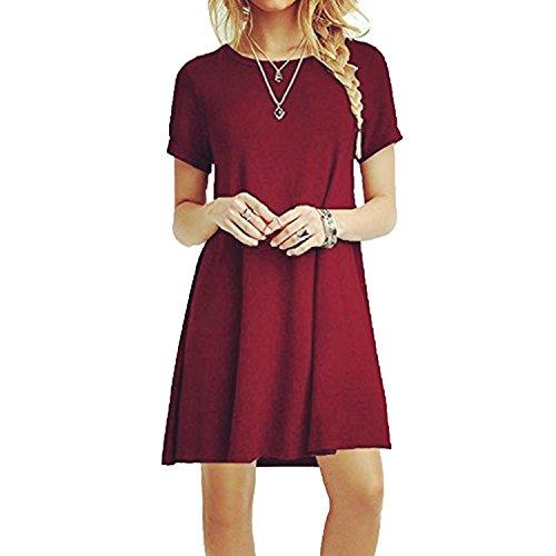 Znystar donna estate sciolto manica corta casual vestito (xxl, vino rosso)