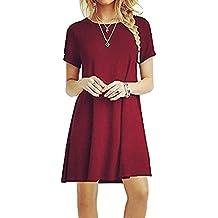 ZNYSTAR Mujer de Camiseta Suelto Casual Cuello Redondo Mini Vestidos