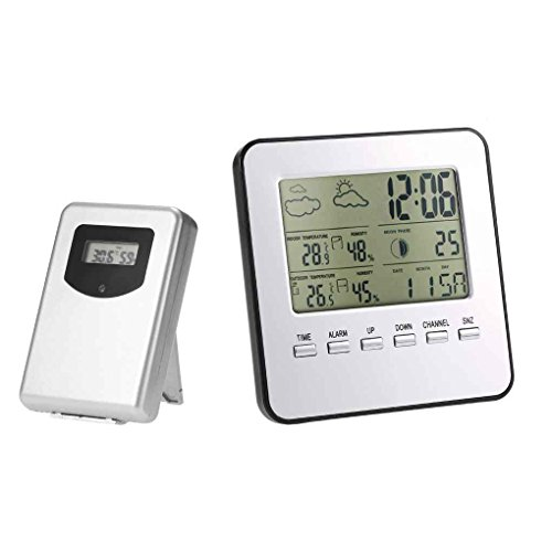 Topker Wireless LCD Digital Thermometer Hygrometer Indoor Outdoor Weather Station Temperature Humidity Meter Weather Forecast Alarm Clock