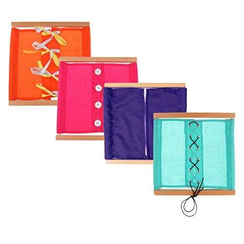 Sharplace Montessori Material Educativo de Vida Diaria, Caja de Ropa, Tela Madera, 25.5x25.5x1.5 cm, 2 / 3 / 4 Piezas - 4 pcs (Naranja Rosado Púrpura Azul)