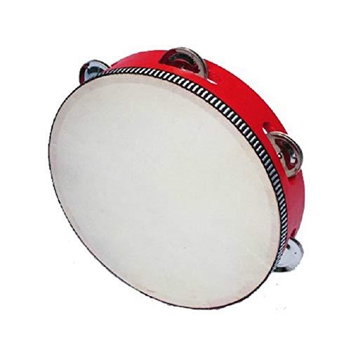 MoGist Kinder Musikinstrumente Kinder Pecussion Holz Handtrommel Rasseln Tambourin Mit Glocken Baby Lernspielzeug (Rot)