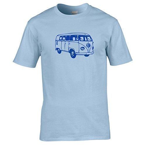 Naughtees kleidung - VW Wohnmobil T-shirt Geteilte scheibe klassisch wohnwagen schlemmen Himmelblau
