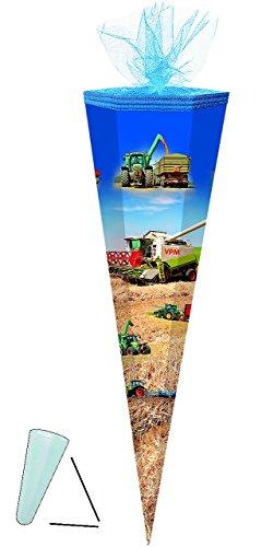 """Preisvergleich Produktbild Schultüte - """" Traktor / Landmaschinen """" - 85 cm - 6-eckig - Tüllabschluß - Zuckertüte - mit / ohne Kunststoff Spitze - für Jungen / Mähdrescher / Traktoren - Fahrzeuge - Auto / Bauernhof - Landwirtschaft"""