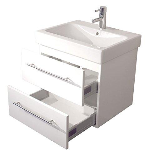 Emotion ICON60CM000101DE Waschbecken mit Unterschrank, Holz, weiß hochglanz, 60 x 57 x 48,5 cm