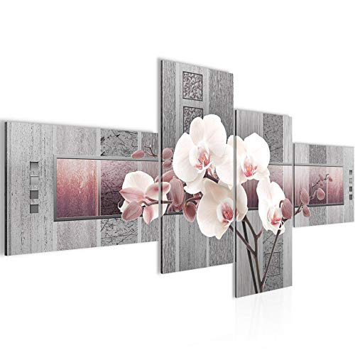 Photo Fleurs d'orchidée Décoration Murale 100 x 50 cm Toison - Toile Taille XXL Salon Appartement Décoration Photos d'art Rose 4 Parties - 100% MADE IN GERMANY - prêt à accrocher 204642c