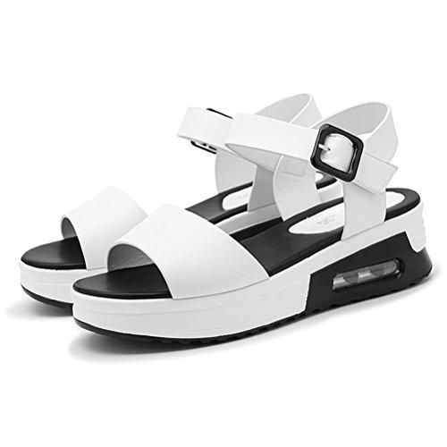 Damen Sommer Moderne Flach Römische Stil Sandalen Offene Zehen Plateau Riemen Schnalle Anpassened überall Studenten Modische Schuhe Weiß