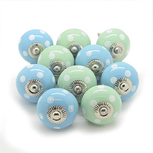 Juego de 10verde y azul pintado de lunares, lunares pomos de cerámica para puerta de armario de cristal para el hogar muebles e interiores