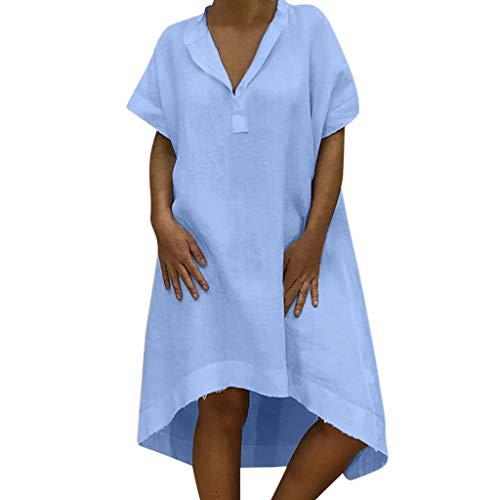 TITIU Damen Plus Size Unregelmäßige Mode Lose Leinen Kurzarm Shirt Vintage Bluse Tank Tee Oberteil Top(X6-Blau,L)