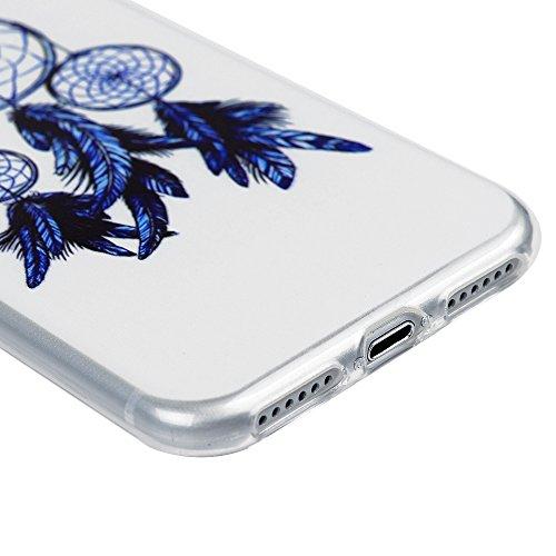 iPhone 7 Custodia Morbido Silicone TPU Gel Ultra Slim Trasparente 4.7 - MAXFE.CO Case Cover [Shock-Absorption Bumper][Ultra Sottile Liscio] - Totem Fiore Blu campanula