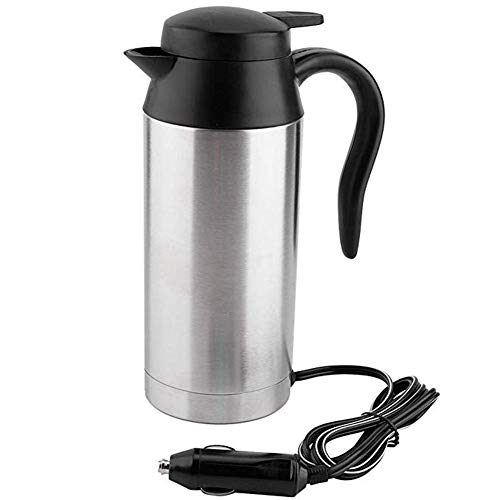 LJSHU Auto Elektrische Tasse Edelstahl 12 V / 24 V Universal 750 ML Große Kapazität Schnellkochende Outdoor Reise Heizung Trinkwasser Tasse Kaffee Wasserkocher,12V