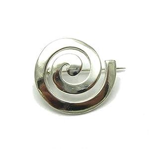 Sterling Silber Brosche Spiral massiv 925 Empress
