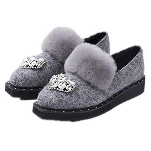 ERHXMme a bottes de neige en peluche Low chaussures light gray