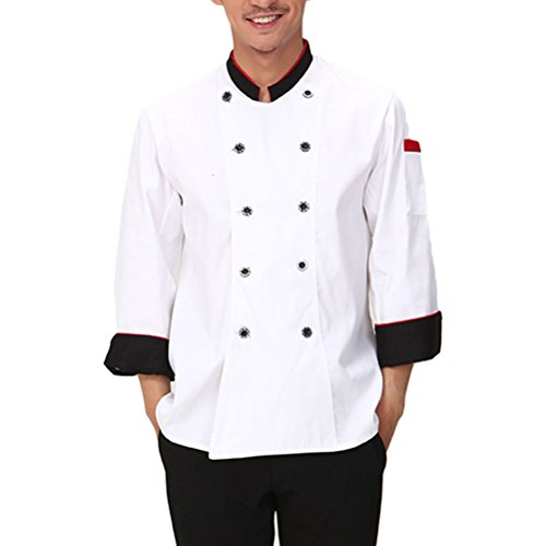 Zhhlinyuan Kitchen Chefs Whites Uniform Top Unisex Long Sleeve Working Clothes white