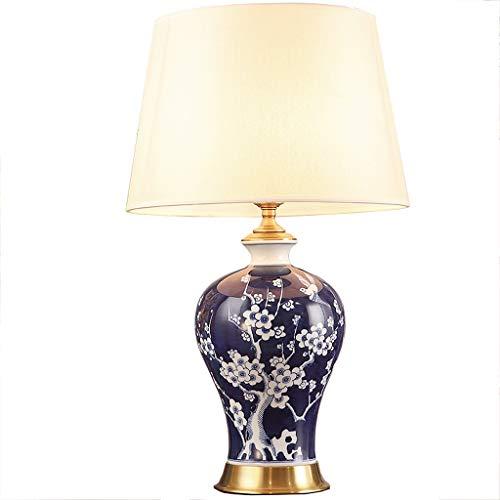 WYY Chinesische Keramik Tischlampe Jingdezhen Hand bemalt Pflaume Vogel Blau Und Weiß Porzellan Wohnzimmer Studie Lampe Höhe 63 cm - 63 Pflaume