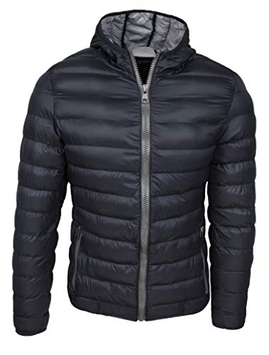 Piumino uomo trade invernale casual giacca giubbotto slim fit con cappuccio (s, nero)