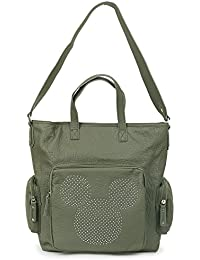 ililily Disney Mickey Mouse Rhinestone Vintage Faux Leather Day Shoulder Bag