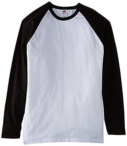 Fruit of the Loom Men's Baseball Raglan Long Sleeve T-Shirt, White/Black, Medium
