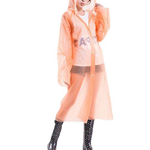 Zhhlaixing Fashion Women Outdoor Portable PEVA Transparent Disposable Raincoat 80517 Orange