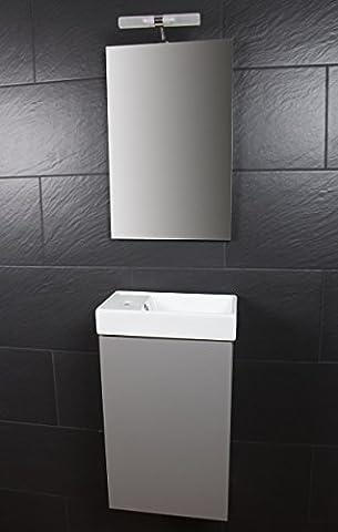 Galdem Bad-Set CUBE Gäste WC Set Gästebad Badmöbel Waschbecken Unterschrank Keramikwaschbecken Waschtisch Spiegel Beleuchtung Softclose Graphite