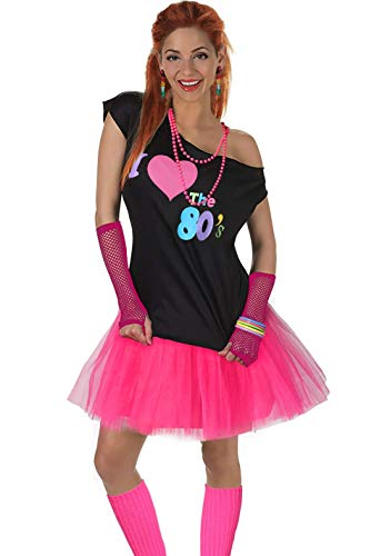Fun Daisy Clothing Damen I Love The 80er Jahre T-Shirt 80er Jahre Outfit Zubehör, Hot Pink - UK 12-14 / (80's Disco Party Kostüm)