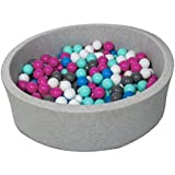 Piscina infantil para ninos de bolas pelotas 300 piezas (Colores de bolas: blanco, azul, rosa, gris, turquesa)