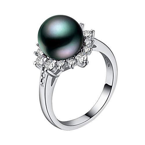 UINGKID Schmuck Damen Ring Wunderschöne und großzügige kreative Blume Diamanten Magic Pearl Damen Ring ()