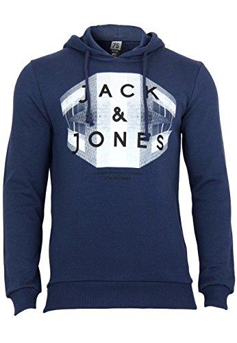 Jack & Jones Herren Kapuzenpullover JJCOSTONE SWEAT DRESS BLUES dunkelblau