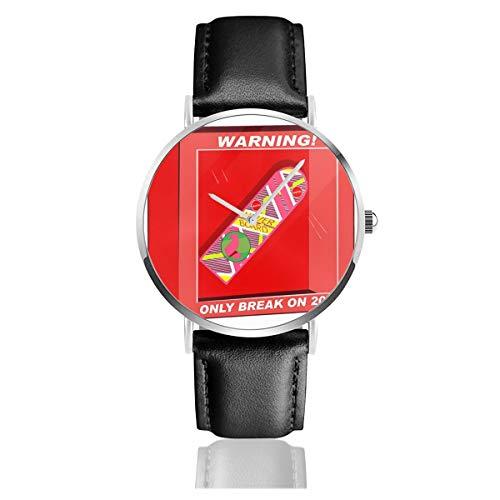 Unisex Business Casual Zurück in die Zukunft Hoverboard Break 2015 Uhren Quarz Leder Uhr mit schwarzem Lederband für Herren Damen Young Collection Geschenk