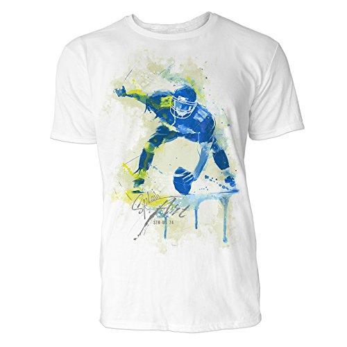 American Football Spieler Sinus Art ® Herren T Shirt ( Weiss ) Crewneck Tee with Frontartwork (Crewneck Tee Herren)