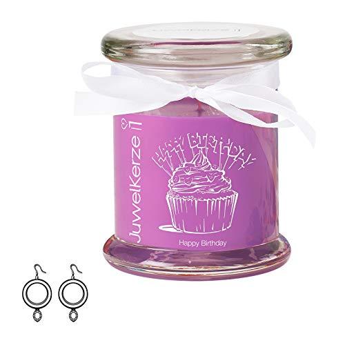 """JuwelKerze \""""Happy Birthday - Duftkerze im Glas mit Schmuck Überraschung - Geschenk für Frauen Geburtstag (Silber Ohrringe, Duft nach Karamell und Cupcake)"""