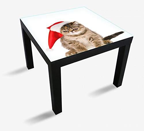 Wallario Möbeldesign - Glasplatte, Schutzplatte mit Motiv - geeignet für IKEA Lack Tisch, Größe: 55 x 55 cm, Motiv: Ich Hasse Weihnachten - mürrische Katze mit Weihnachtsmütze