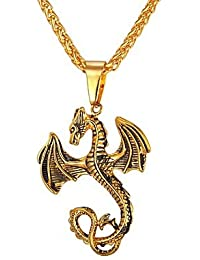 BF-Homme Pendentif de Collier - Acier Inoxydable Dragon, Animal Cool Or,  Argent b2cd193e5178